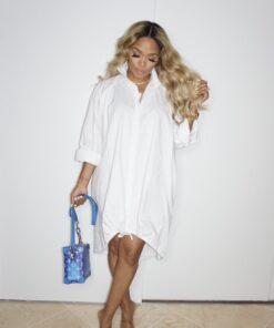 Oversized Shirt Dress, White Dress, Drawstring Dress For Women