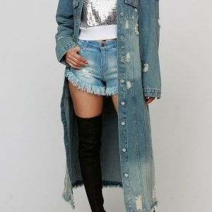 This long knitted denim jacket is created for plus size women with genuine jeans quality