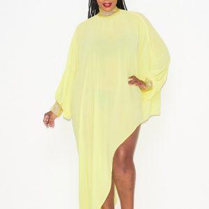 Asymmetric Yellow Chiffon Dress