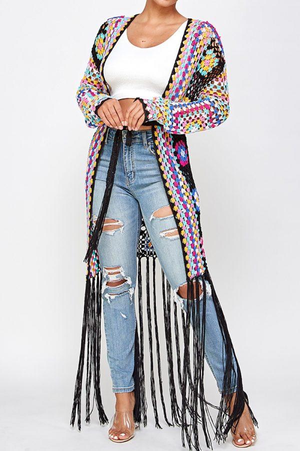 Crochet Duster, Black Duster, Colorful Duster, Hippie Duster