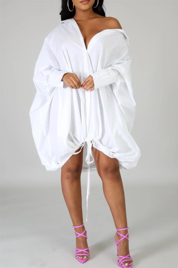 White Drawstring Dress