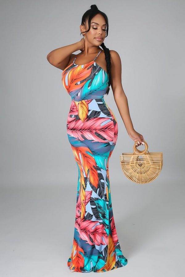 Tropical, Floral, Mermaid Dress