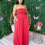 Red Tube Tope Chiffon Wide Legged Jumpsuit