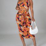 Orange Floral Two Piece Women's Skirt Set