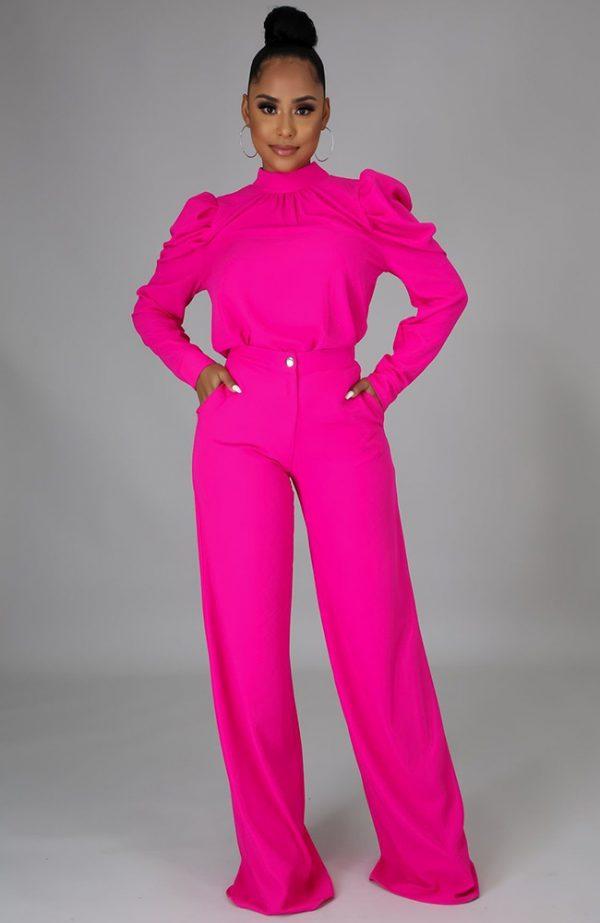 Fuchsia Pants Set Hot Pink Two Piece