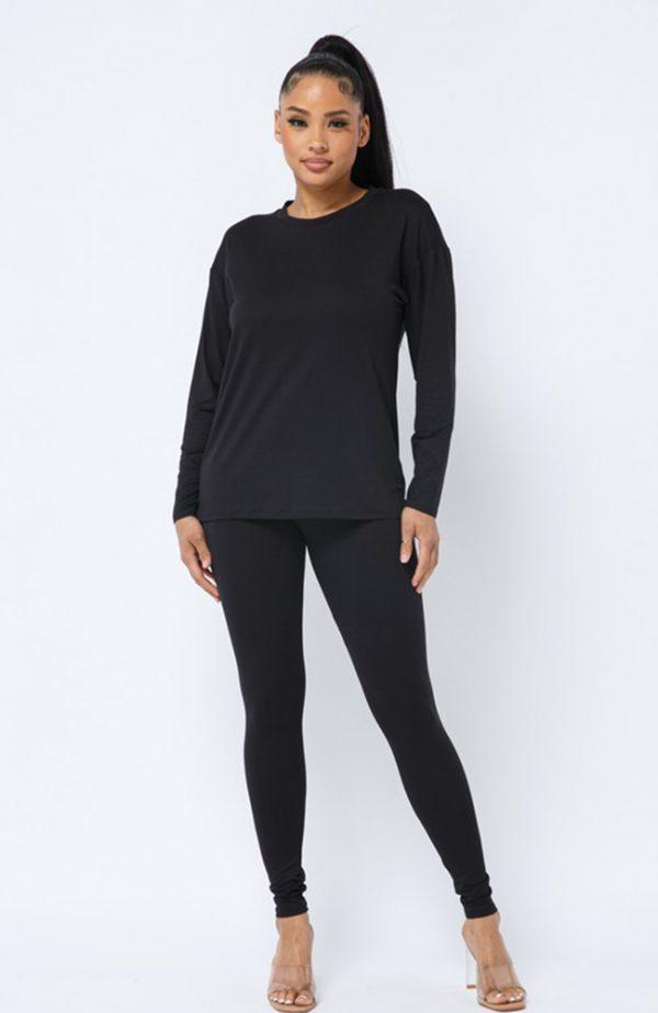Black Long Sleeve Two Piece Legging Set
