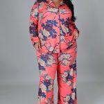 Plus Size Two Piece Set Wide leg Pants Suit