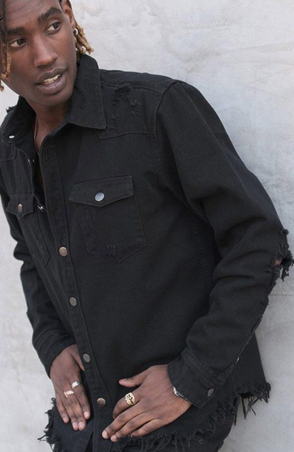 Distressed Denim Shirt Oversized Denim Shirt Black Distressed