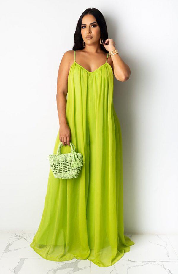 Flowy Lime Green Chiffon Jumpsuit