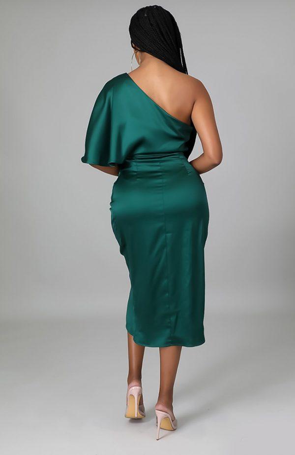 Asymmetrical Emerald Green Dress Off Shoulder
