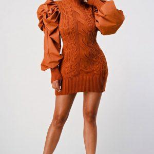 Puffy Sleeve Sweater Dress Rust Dress