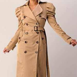 Taupe Trench Coat Puffed Sleeve Trench Coat